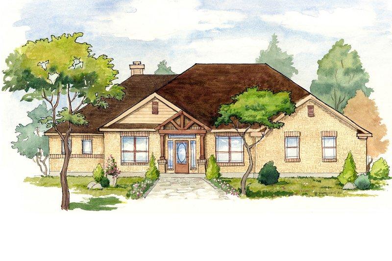 Architectural House Design - Mediterranean Exterior - Front Elevation Plan #80-158