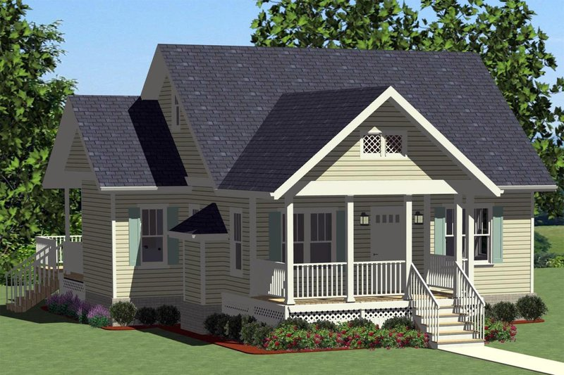 Cottage Exterior - Front Elevation Plan #898-24