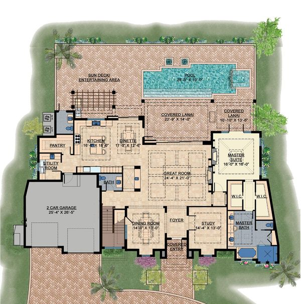 Contemporary Floor Plan - Main Floor Plan Plan #548-24