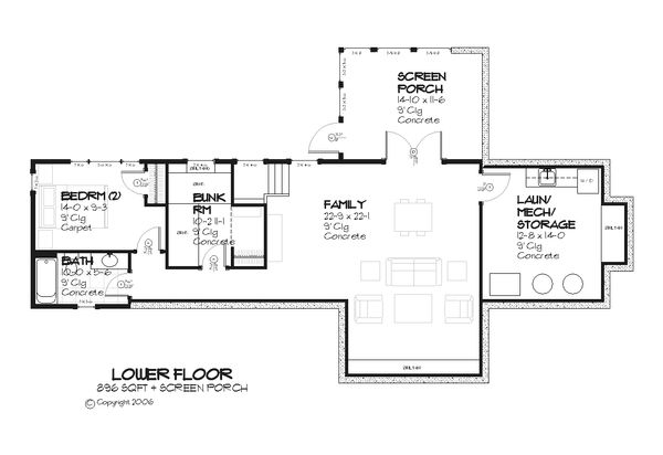 Cottage style house plan, country floor plan, screened porch