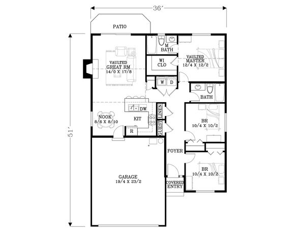 Craftsman Floor Plan - Main Floor Plan Plan #53-594