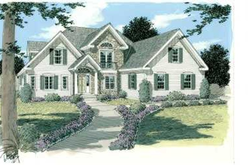 Traditional Style House Plan - 3 Beds 2.5 Baths 2302 Sq/Ft Plan #75-117 Exterior - Front Elevation