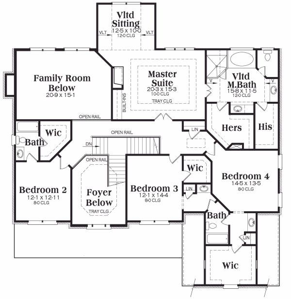 European Floor Plan - Upper Floor Plan Plan #419-136