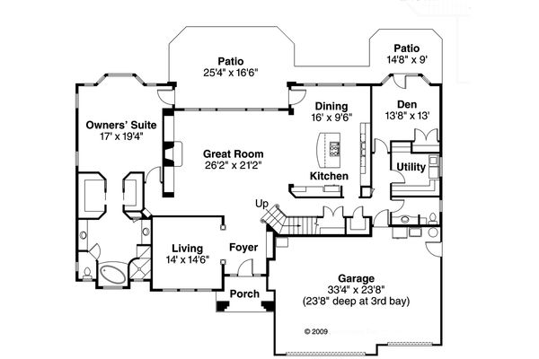 Mediterranean Floor Plan - Main Floor Plan Plan #124-713