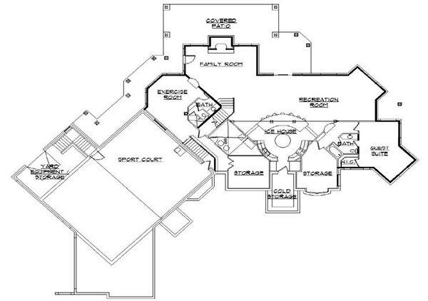 House Plan Design - European Floor Plan - Lower Floor Plan #5-448