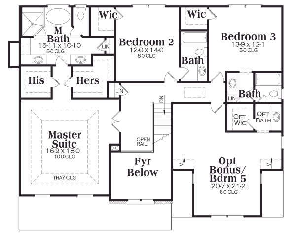 Traditional Floor Plan - Upper Floor Plan Plan #419-152