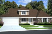 Country Style House Plan - 4 Beds 3 Baths 2016 Sq/Ft Plan #312-529 Exterior - Front Elevation