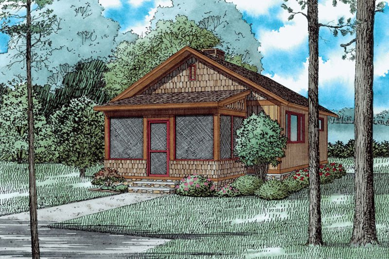Country Style House Plan - 2 Beds 1 Baths 691 Sq/Ft Plan #17-2605 Exterior - Front Elevation