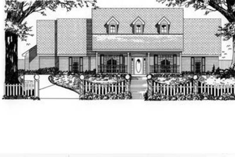 Traditional Style House Plan - 4 Beds 2.5 Baths 2545 Sq/Ft Plan #62-114 Exterior - Front Elevation