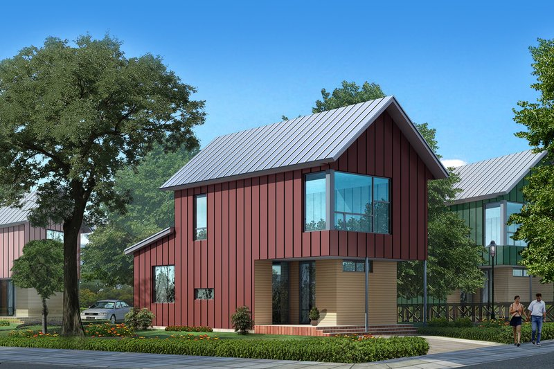 Modern Style House Plan - 2 Beds 1.5 Baths 1203 Sq/Ft Plan #909-3 Exterior - Front Elevation