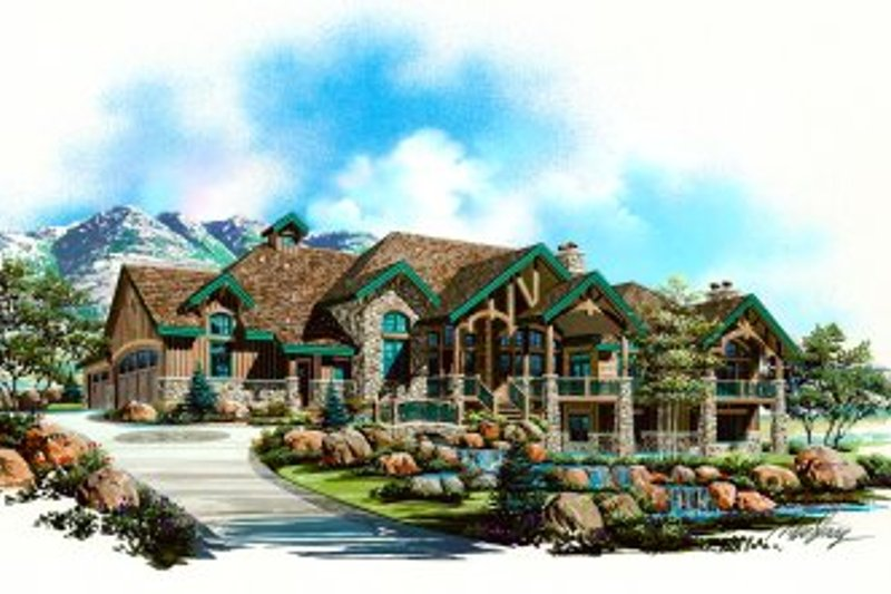 Craftsman Style House Plan - 6 Beds 4 Baths 6105 Sq/Ft Plan #5-170 Exterior - Front Elevation