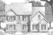 Traditional Style House Plan - 3 Beds 2.5 Baths 2098 Sq/Ft Plan #129-122 Exterior - Front Elevation