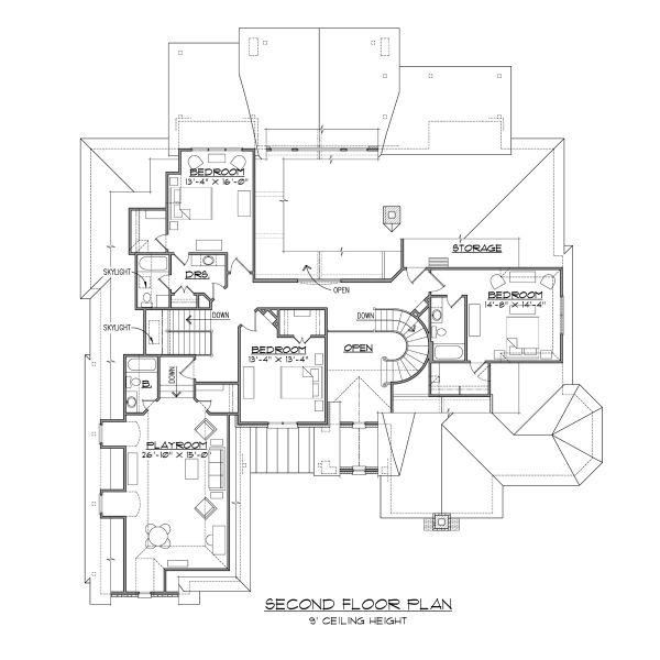 European Floor Plan - Upper Floor Plan #1054-94