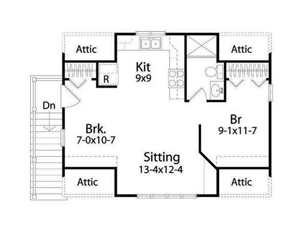 Traditional Floor Plan - Upper Floor Plan Plan #22-564