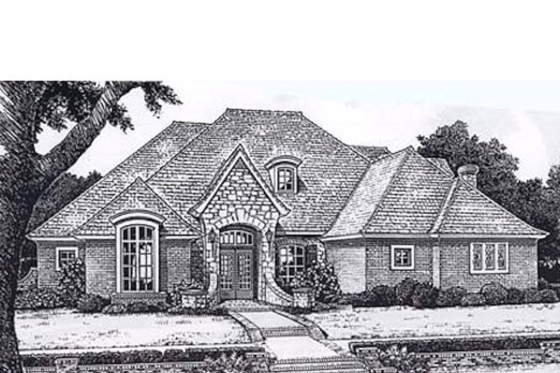 European Style House Plan - 4 Beds 3.5 Baths 3258 Sq/Ft Plan #310-935 Exterior - Front Elevation