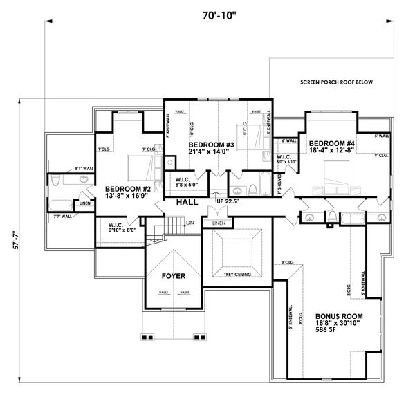 House Plan Design - Traditional Floor Plan - Upper Floor Plan #30-345