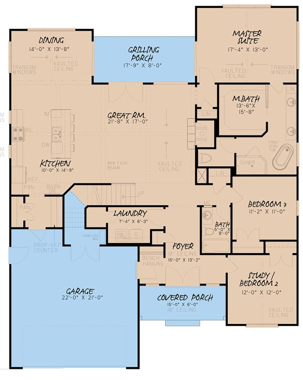 Farmhouse Floor Plan - Main Floor Plan Plan #923-153