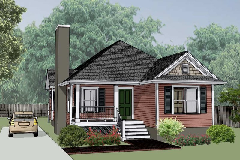 Cottage Style House Plan - 3 Beds 2 Baths 1152 Sq/Ft Plan #79-136 Exterior - Front Elevation