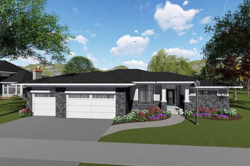 Architectural House Design - Modern Exterior - Front Elevation Plan #70-1424