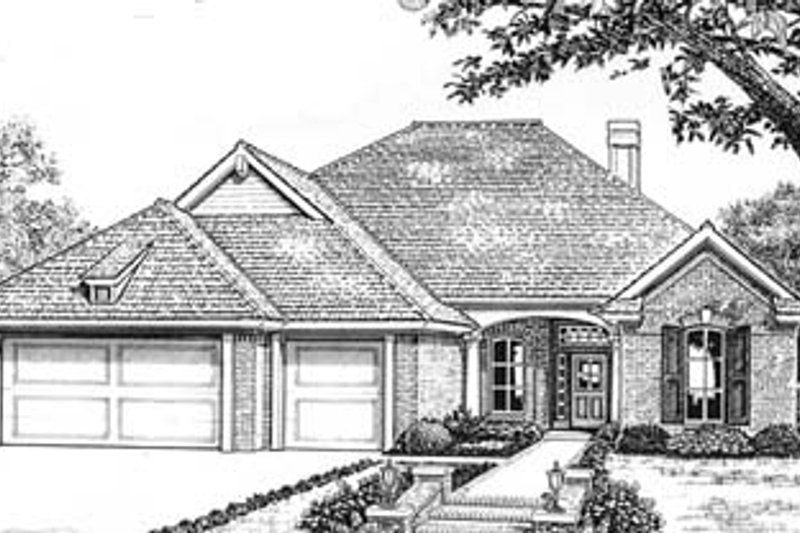 European Style House Plan - 3 Beds 2.5 Baths 2036 Sq/Ft Plan #310-590 Exterior - Front Elevation