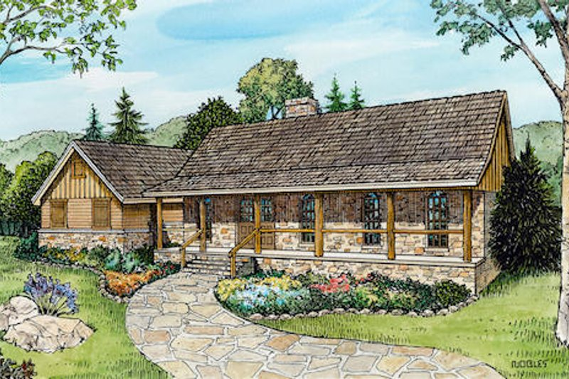 Ranch Style House Plan - 3 Beds 2 Baths 1917 Sq/Ft Plan #140-125 Exterior - Front Elevation