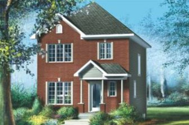 European Style House Plan - 3 Beds 1.5 Baths 1248 Sq/Ft Plan #25-4008 Exterior - Front Elevation
