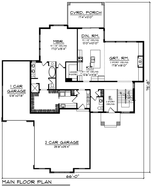 Contemporary Floor Plan - Main Floor Plan Plan #70-1496
