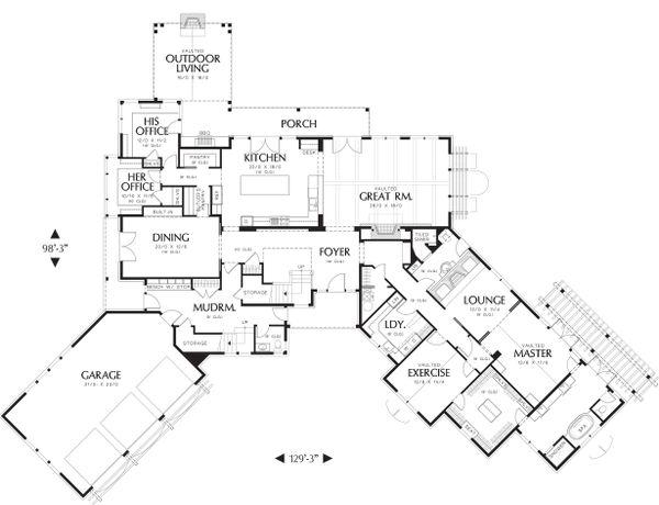 Main Level Floor Plan - 5200 square foot Craftsman Home