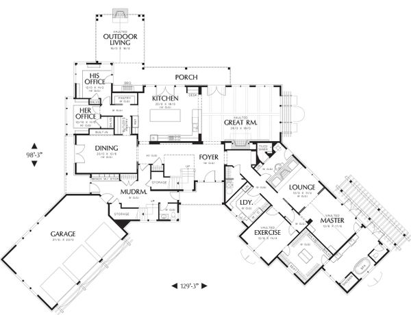 Main Level Floor Plan - 5200 square foot Craftsman Home