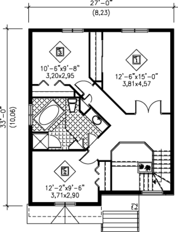 Modern Floor Plan - Upper Floor Plan #25-4230