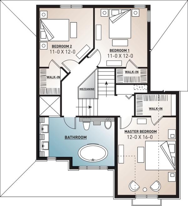 Farmhouse Floor Plan - Upper Floor Plan Plan #23-807