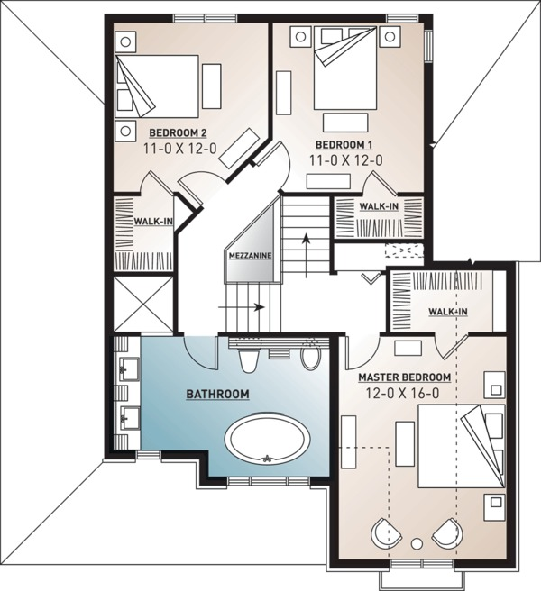 Farmhouse Floor Plan - Upper Floor Plan Plan #23-807