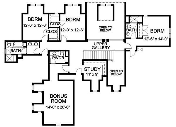 European Floor Plan - Upper Floor Plan Plan #490-5