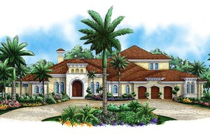 Mediterranean Exterior - Front Elevation Plan #27-475