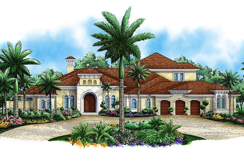Mediterranean Style House Plan - 4 Beds 4.5 Baths 7398 Sq/Ft Plan #27-475 Exterior - Front Elevation