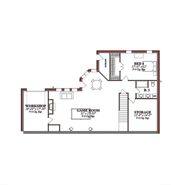 Traditional Floor Plan - Lower Floor Plan #63-194