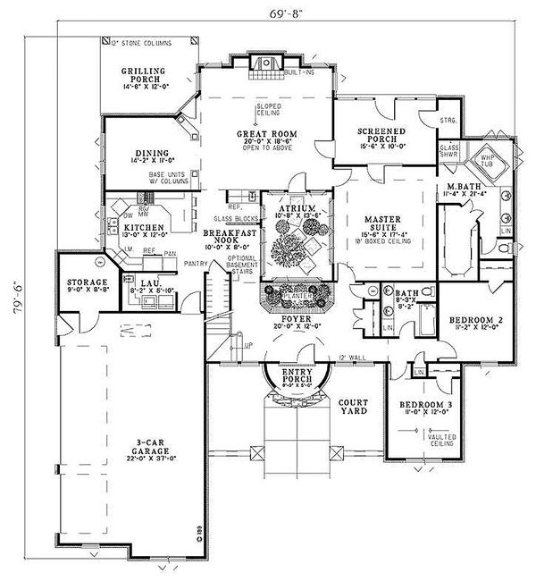 European Floor Plan - Main Floor Plan Plan #17-208
