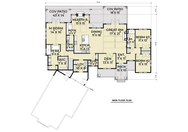 Craftsman Floor Plan - Main Floor Plan #1070-68
