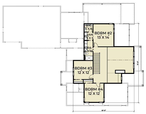 Farmhouse Floor Plan - Upper Floor Plan Plan #1070-41