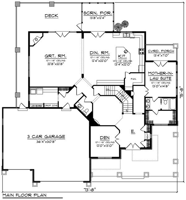 Craftsman Floor Plan - Main Floor Plan #70-1255