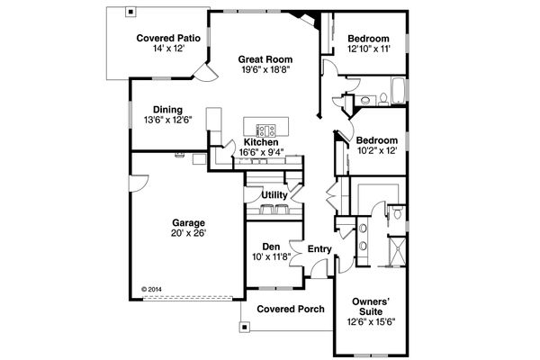 Country Floor Plan - Main Floor Plan Plan #124-926