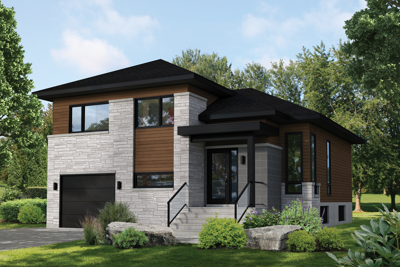 Contemporary Style House Plan - 3 Beds 1.5 Baths 1380 Sq/Ft Plan #25-4899