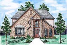 European Exterior - Front Elevation Plan #52-163