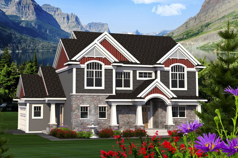 Craftsman Exterior - Front Elevation Plan #70-1218