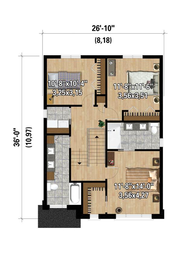 Contemporary Floor Plan - Upper Floor Plan #25-4873