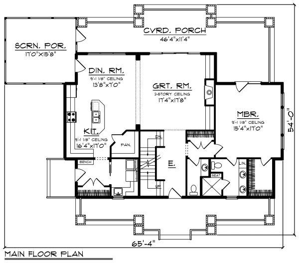 Craftsman Floor Plan - Main Floor Plan Plan #70-1494
