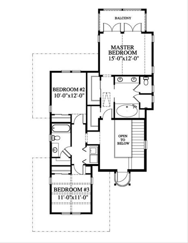 Beach Style House Plan - 3 Beds 2.5 Baths 2034 Sq/Ft Plan #426-20 Floor Plan - Upper Floor Plan