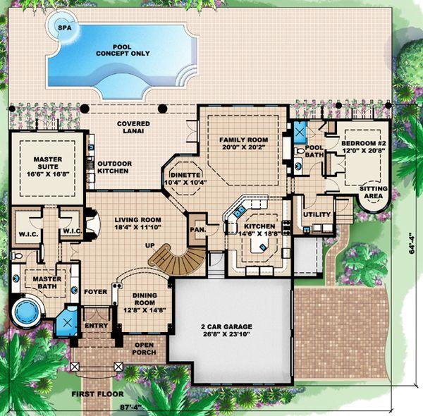 Mediterranean Floor Plan - Main Floor Plan #27-428