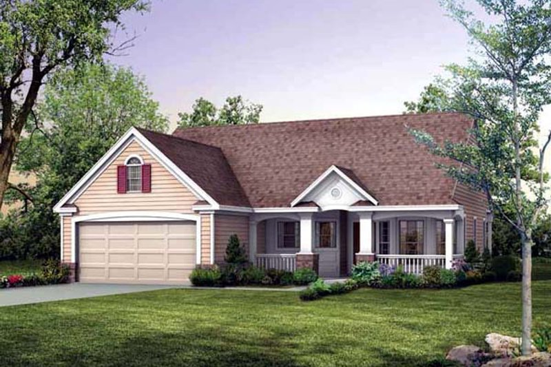 Traditional Style House Plan - 2 Beds 2 Baths 1118 Sq/Ft Plan #72-102 Exterior - Front Elevation