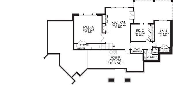Craftsman Floor Plan - Lower Floor Plan Plan #48-652